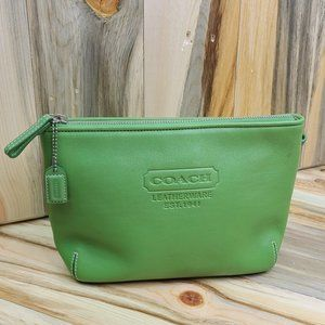 Coach Green Leather Cosmetic Case